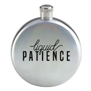 """NWT! """"Liquid Patience"""" Silver Novelty Flask"""